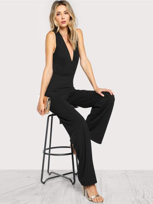 Renee Cross Back Flare Hem Jumpsuit