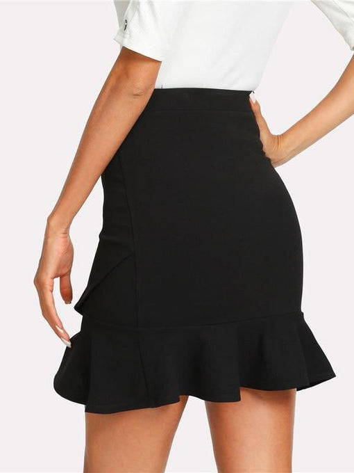 Florence Black Flounce Hem Mini Skirt