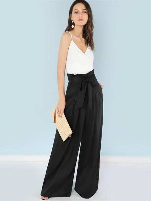 Aubrielle Black Pleated Palazzo Pants
