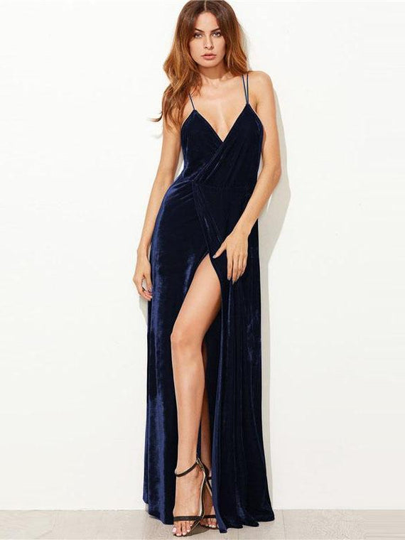 Wanda Navy Backless Wrap Velvet Dress