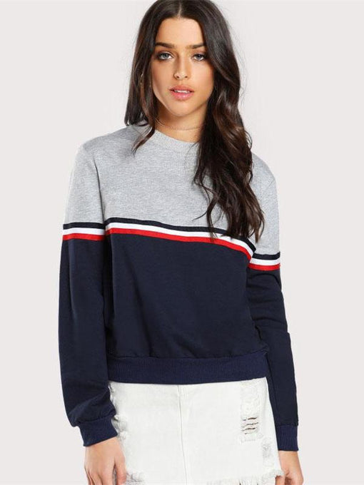 Sonia Striped Two Tone Pullover