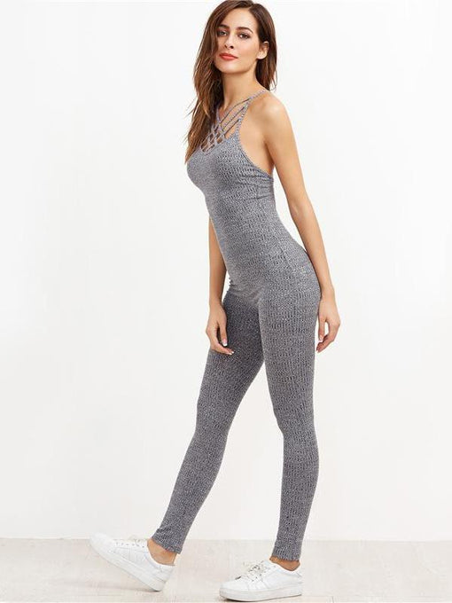 Lauryn Grey Ribbed Knit Caged Neck Jumpsuit