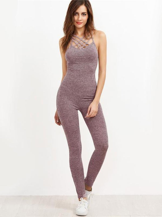 Lauryn Pink Ribbed Knit Caged Neck Jumpsuit