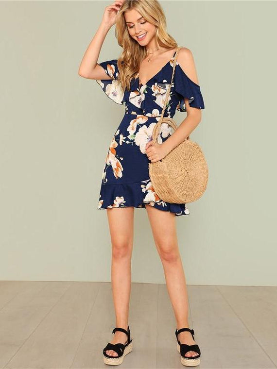 Kristina Backless Floral Flounce Dress