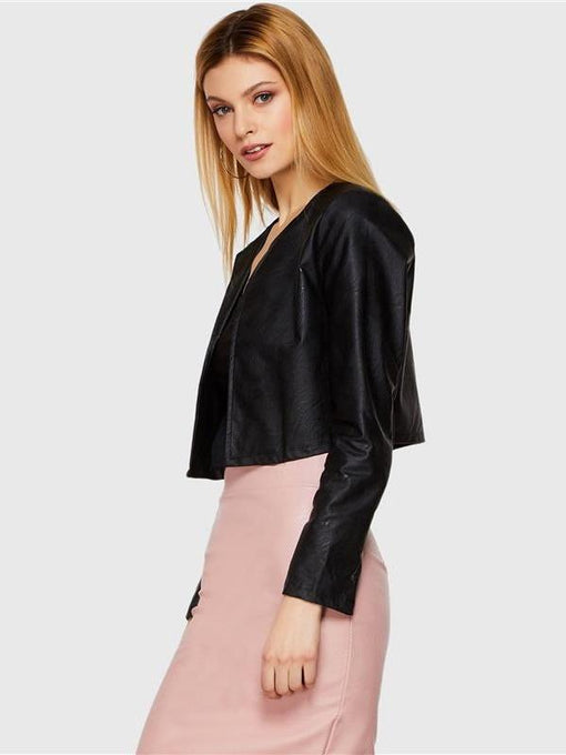 Celia Black PU Leather Crop Jacket