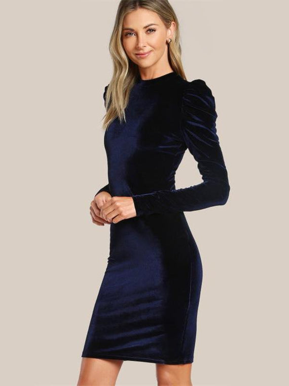 Charleigh Navy Puff Sleeve Velvet Pencil Dress