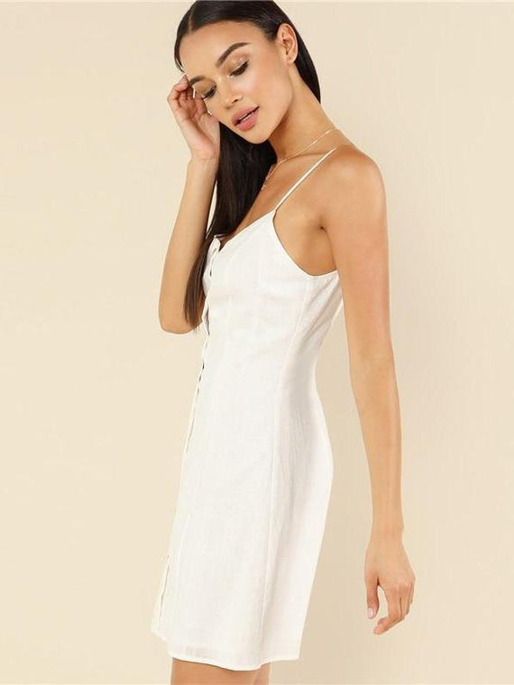 Noemi White Button Up Cami Dress