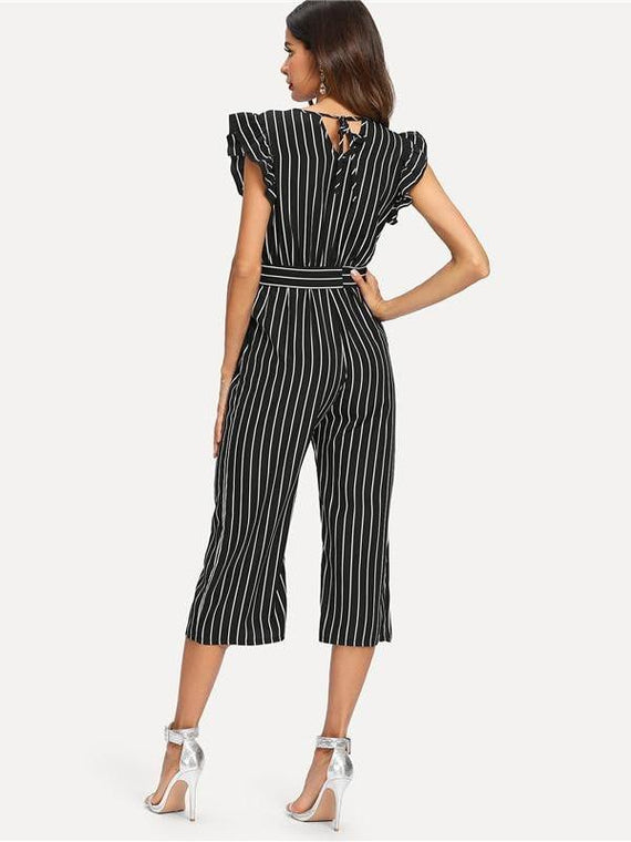 Tinsley Black & White Stripe Ruffle V Neck Jumpsuit