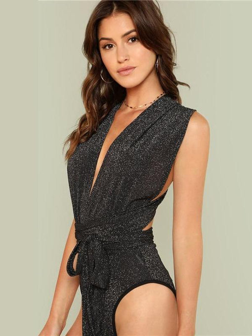 Dorothy Deep V Neck Sleeveless Halter Bodysuit