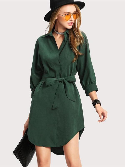 Amara Green Curved Hem Shirt Dress