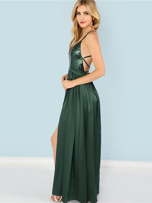 Gwyneth Green Sequin Split V-Neck Cami Dress
