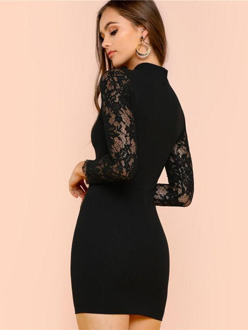 Julieta Black Lace Neckline Pencil Dress