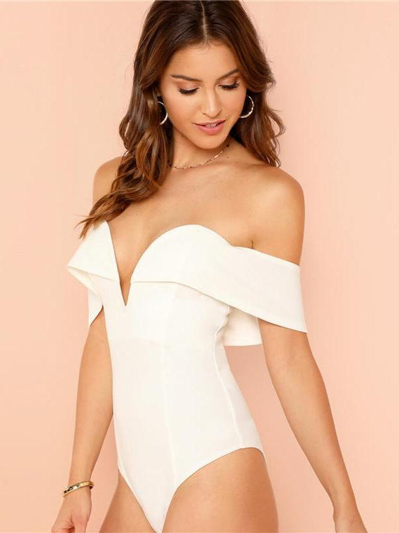 Julissa White Deep V Neck Bardot Bodysuit