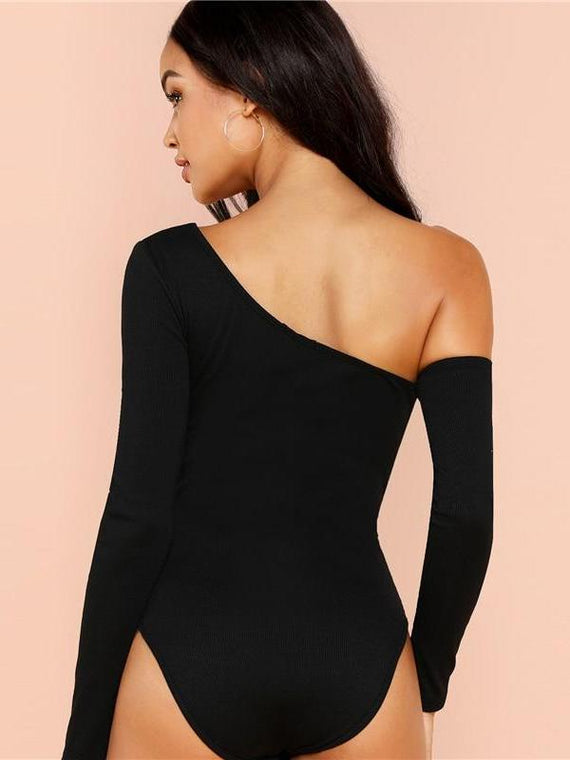 Lauryn Black Off Shoulder Long Sleeeve Bodysuit