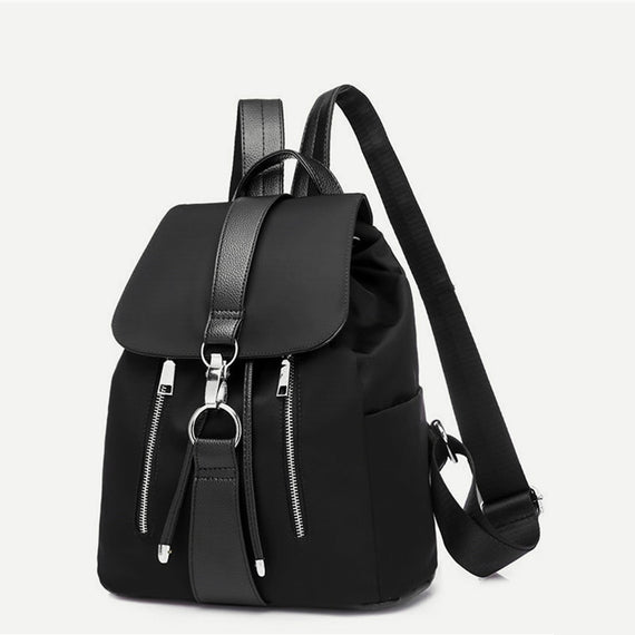 Black Metal Ring Fashion Backpack