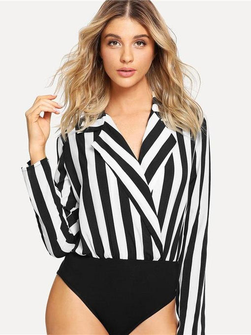 Alondra Striped Notch Collar Wrap Bodysuit