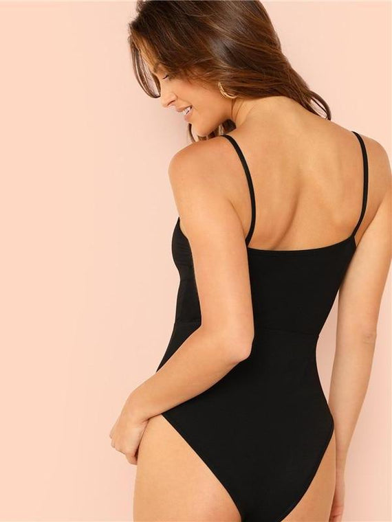 Marissa Black Cut Out Knot Bodysuit