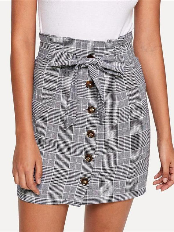 Lucille Grey Button Up Knot Front Plaid Skirt