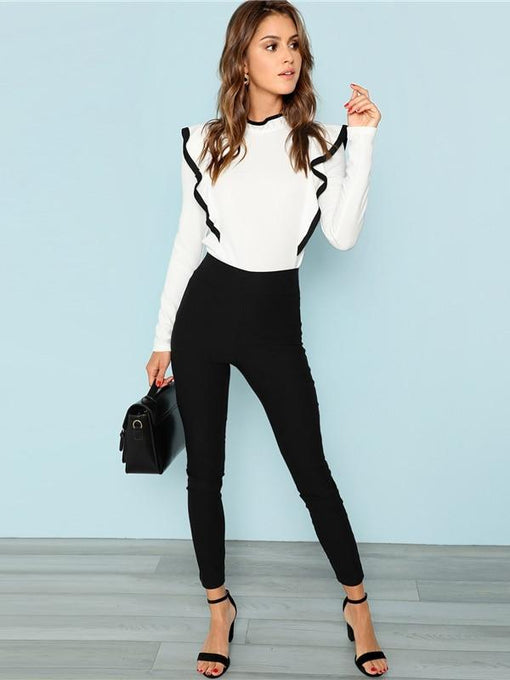 Scarlette White Ruffle Long Sleeve Top