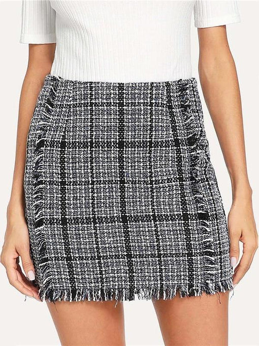 Sylvie Frayed Trim Plaid Pencil Skirt