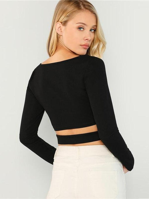 Savanna Black Long Sleeve Crop Top