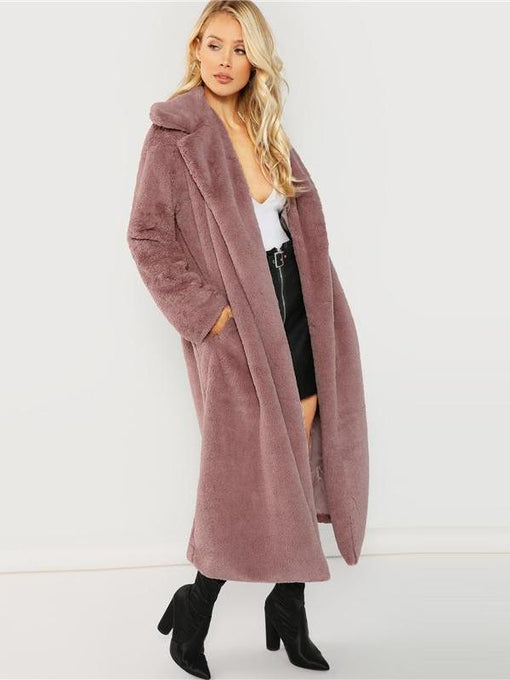 Catalina Pink Long-line Fur Coat