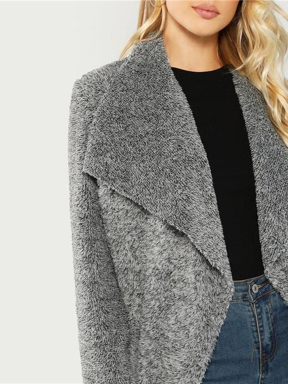 Arielle Grey Waterfall Collar Teddy Coat