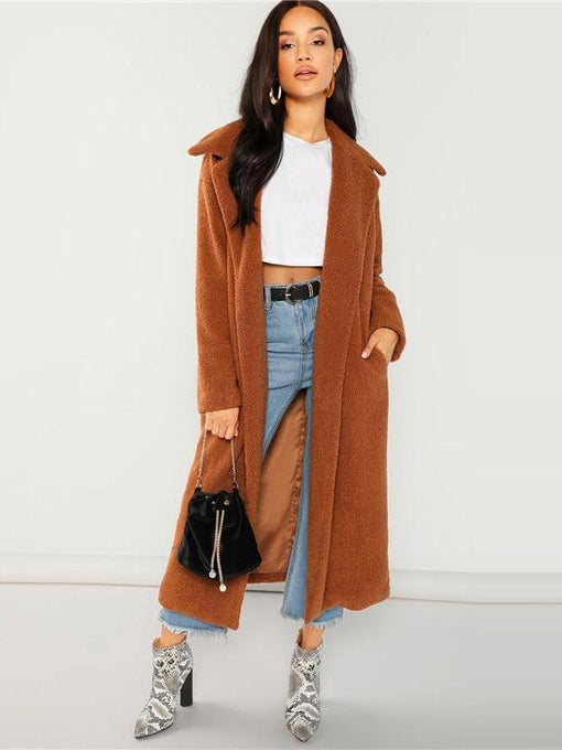 Julissa Solid Longline Faux Fur Teddy Coat