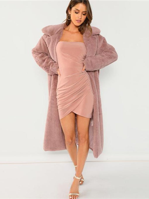 Karsyn Pink Strapless Ruched Overlap Bodycon Dress