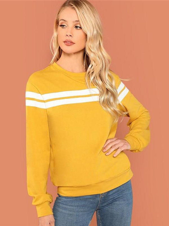 Madalynn Mustard Striped Sweatshirts