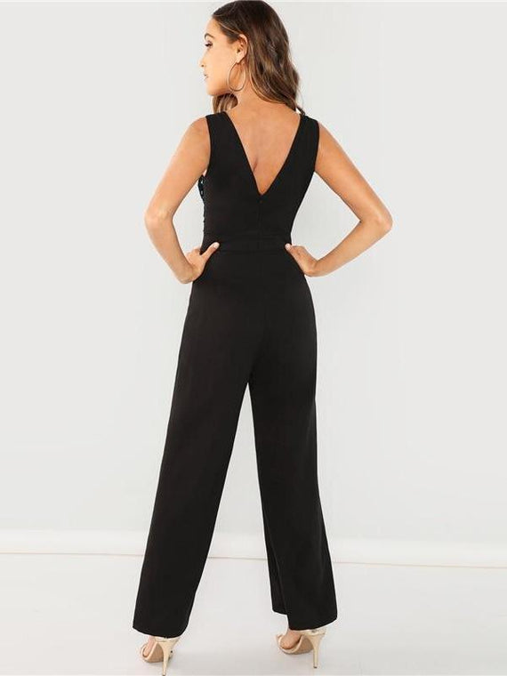 Jillian Sequin Wrap Bodice Jumpsuit