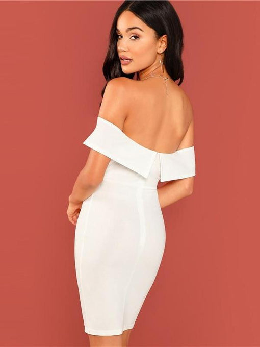 Chanel White Off Shoulder Bodycon Dress