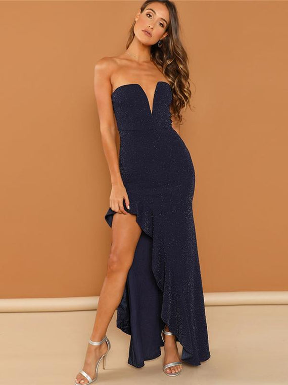 Marianna Navy Asymmetrical Ruffle Trim Maxi Dress