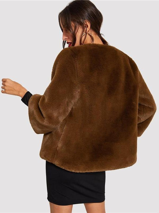 Alessandra Coffee Solid Faux Fur Teddy Coat