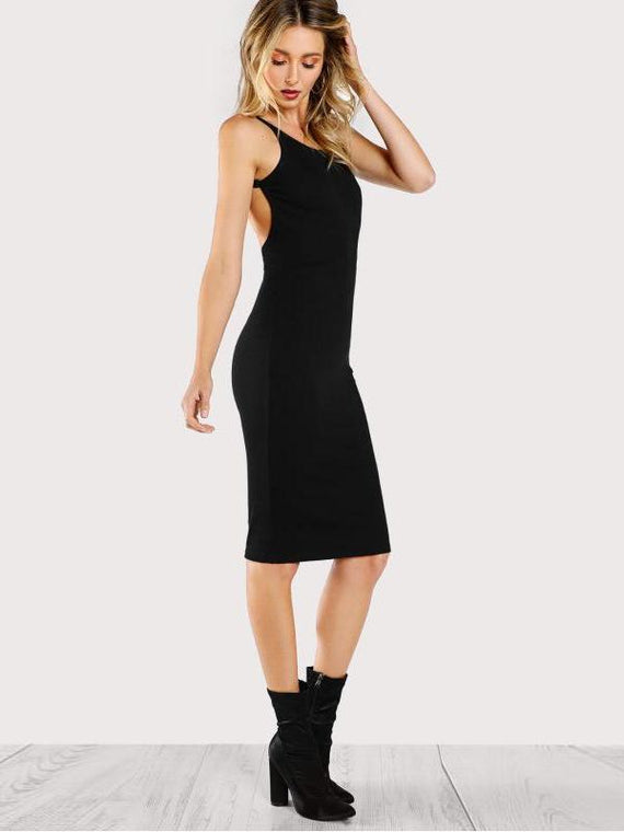 Saylor Black Low Back Pencil Dress