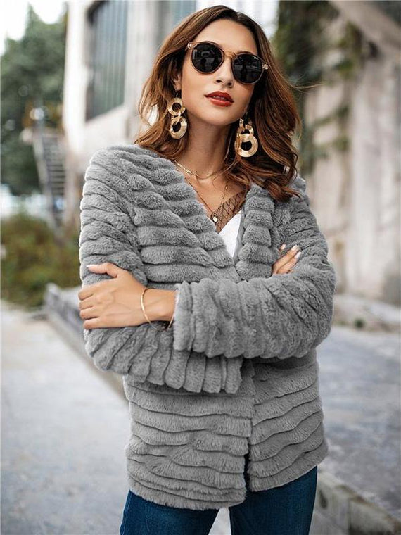 Zella Grey Faux Fur Coat