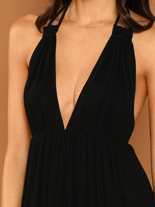 Ivanna Black Deep V-Neck Plunging Halter Dress