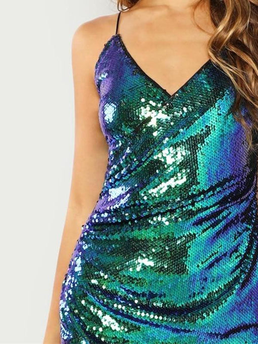 Kendall Green Surplice Wrap Sequin Cami Dress