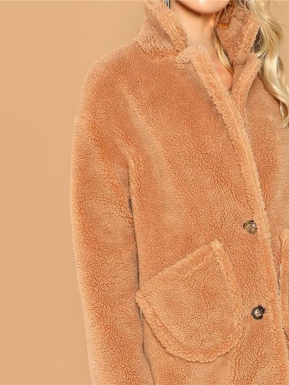 Catalina Caramel Long-line Fur Coat