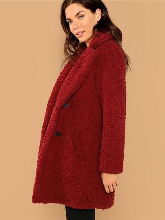 Jennifer Double Button Teddy Coat
