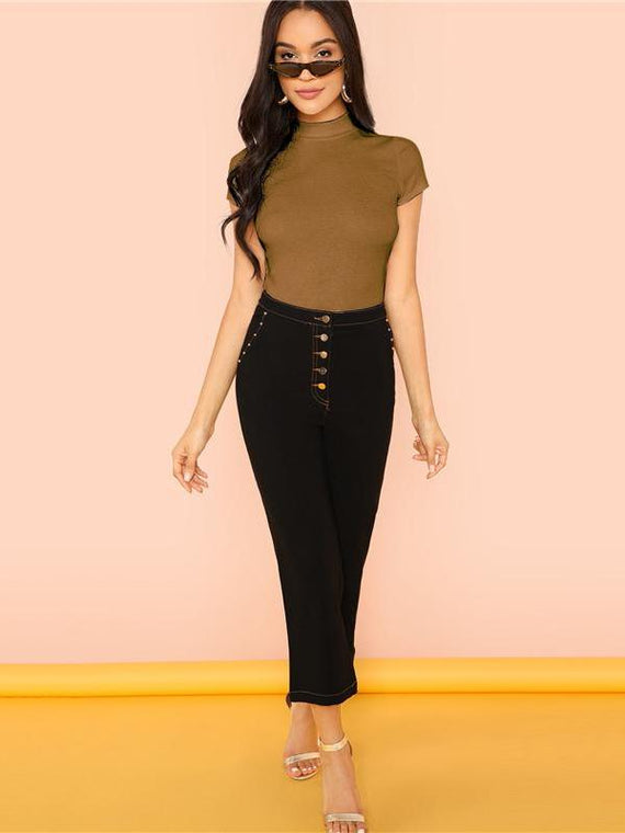 Maddison Brown Rib Knit Crop T-Shirt