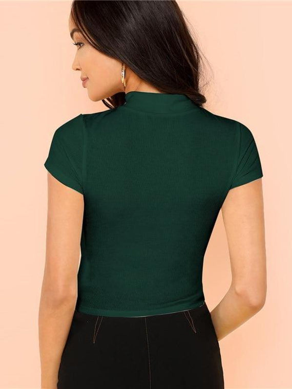 Maddison Green Rib Knit Crop T-Shirt