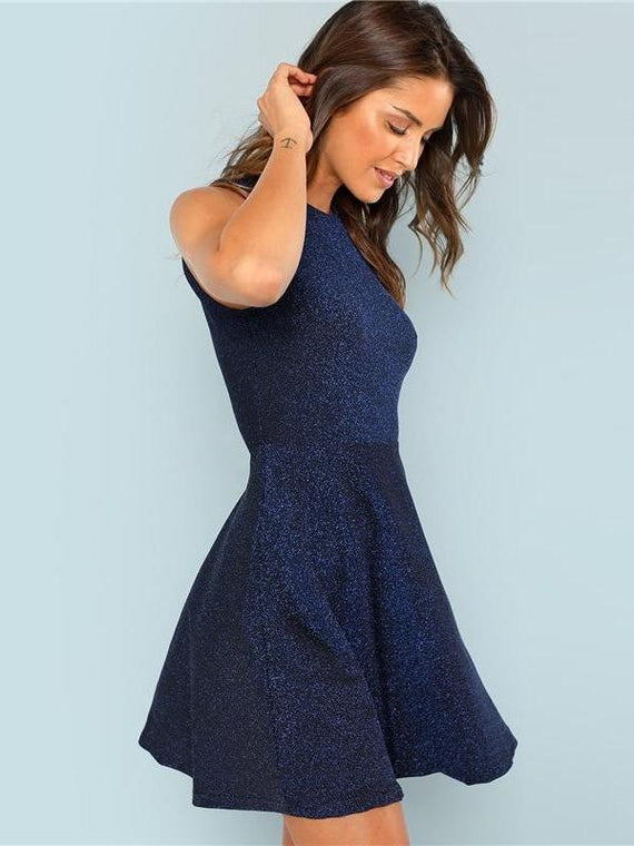 Isabela Blue Sleeveless Glitter High Waist Dress