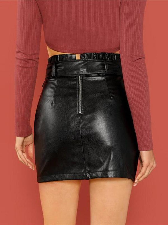 Everleigh Black Self Adjustable Belted PU Skirt