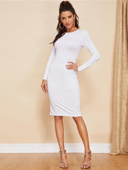 Clementine White Backless Knot Party Dress