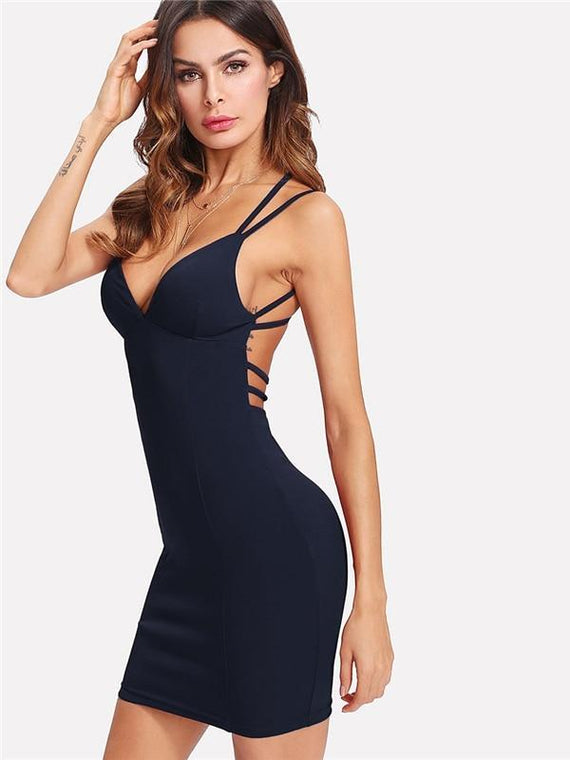 Skyla Navy Strappy Backless Fitted Bodycon Dress