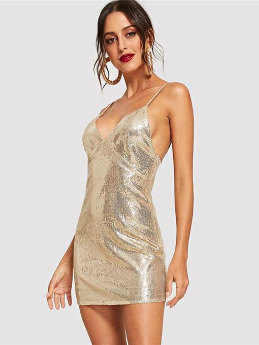 Deborah Gold Surplice Neck Sequin Dress