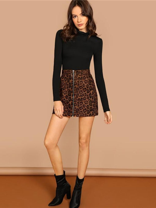 Clare Leopard O-Ring Zip Up Skirt
