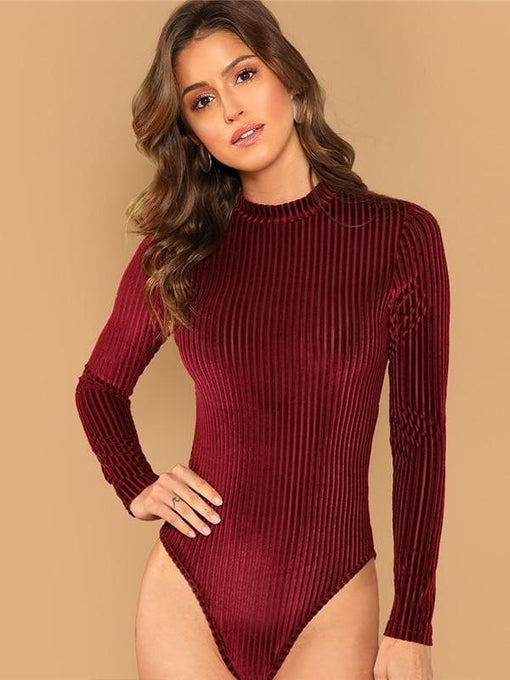 Emberly Burgundy Mock-Neck Long Sleeve Bodysuit