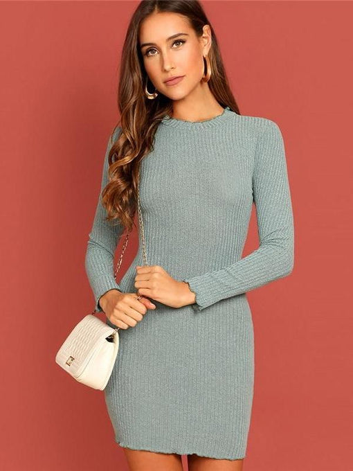 Katalina Rib Knit Long Sleeve Dress